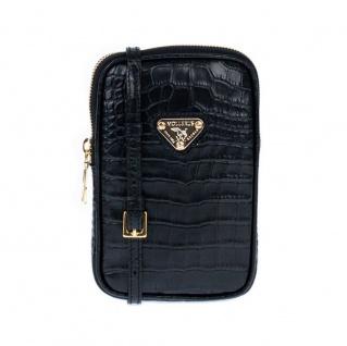 Maison Mollerus Leather Croco Black Handyhülle / Handytasche Wildhorn Gold