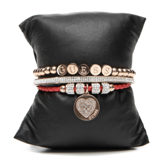 Guess Set mit drei Armbänder Rosé/Rot, 80101