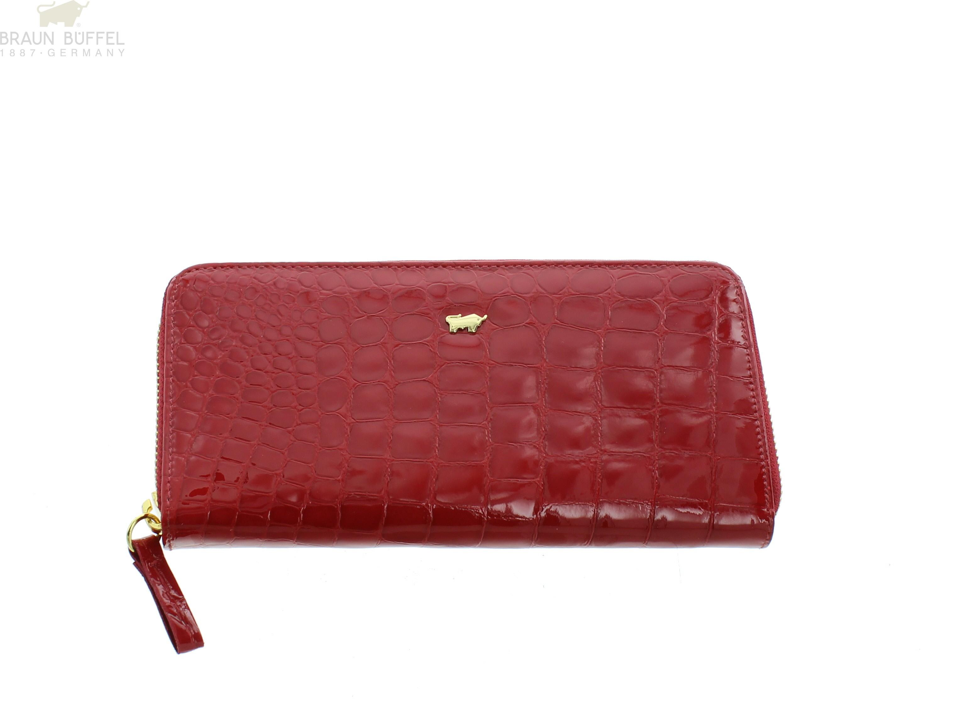 fdd4ea27031ca Braun Büffel Geldbörse mit RV Glanzkroko rot