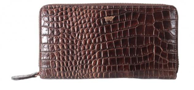 Braun Büffel Geldbörse mit RV Amalfi Kroko Choco, 45255