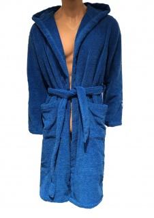 Emporio Armani Bademantel mit Kapuze und Tasche blau, 110799 - Vorschau 1
