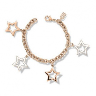 Tommy Hilfiger Damen Armband Edelstahl mit vier Sternenanhänger, ros&eacutesemik 2700892