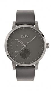 Hugo Boss Herren Uhr Oxygen Leder grau, 1513595