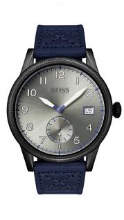 Hugo Boss Herren Uhr Legacy Leder blau, 1513684