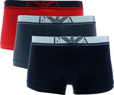 Emporio Armani 3er Set, Basic Stretch Cotton Trunk rot / marine / antrazit Gr. S