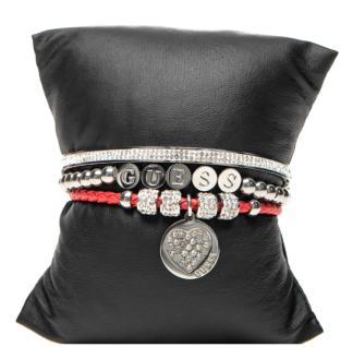 Guess Set mit drei Armbänder Silber/Rot, 80099