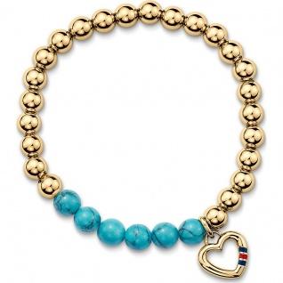 Tommy Hilfiger Damen Armband Edelstahl mit Anhänger, gold 2700784