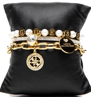Guess Set mit drei Armbänder Gold, 80083
