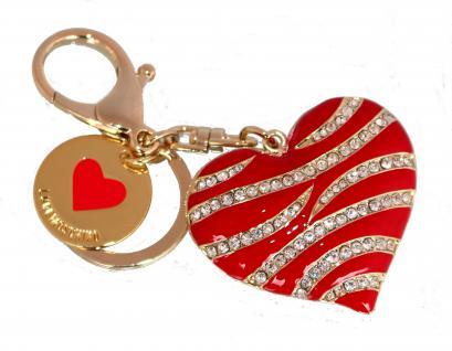 Love Moschino Taschen- / Schlüsselanhänger, Herz, Metallo Oro