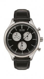 Hugo Boss Herren Uhr Companion Leder schwarz, 1513543