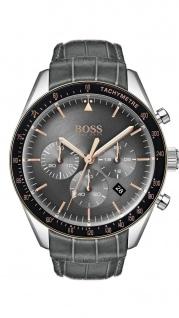 Hugo Boss Herren Uhr Trophy Leder grau, 1513628