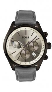 Hugo Boss Herren Uhr Grand Prix Leder grau, 1513603