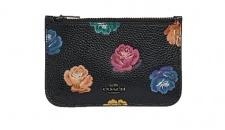 Coach Mini Portemonnaie schwarz mit Blumen, 31925