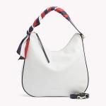 Tommy Hilfiger Hobo Bag mit Satintuch, Bright White