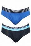 Emporio Armani 2-er Set, Stretch Cotton Slip, schwarz/blau, 111321, Gr. M