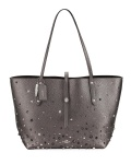 Coach Studded Leather Tote Bag, Metallic Graphite