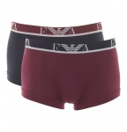 Emporio Armani 2er Set, Basic Stretch Cotton Trunk, aubergine/ marine