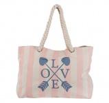 Achilleas Shopper / Strandtasche Love, weiß / rosé