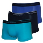 Emporio Armani 3er Set Basic Stretch Cotton Trunk schwarz/blau/türkis, 111357