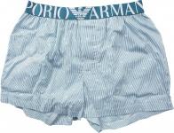 Emporio Armani Woven Cotton Boxer Short, gestreift weiß/blau, 110991