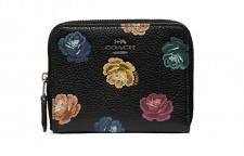 Coach Portemonnaie schwarz mit Blumen, 31850