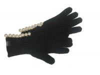 Boutique Moschino Handschuhe mit Perlen One Size, schwarz