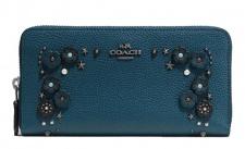 Coach Portemonnaie mit Zip, blau, 59387
