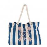 Achilleas Shopper / Strandtasche Love, weiß / blau