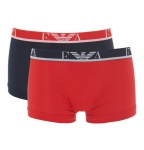 Emporio Armani 2-er Set, Stretch Cotton Trunk, schwarz/rot, 111210