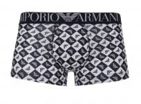 Emporio Armani Basic Stretch Cotton Trunk, schwarz/ weiß Logoprint, 111290