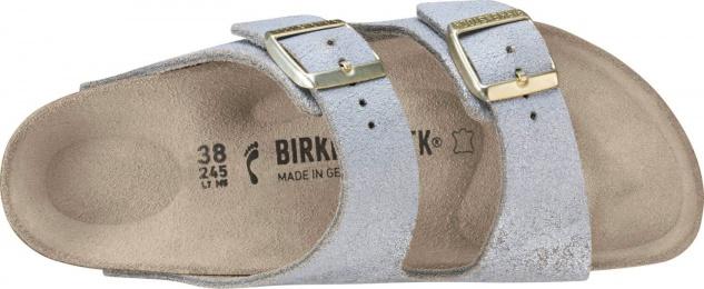 Birkenstock Arizona mit Damen Pantoletten verwaschenes Leder mit Arizona Metallic-Look 7191b5