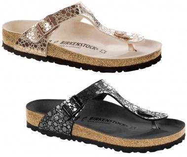 Birkenstock Gizeh Damen Pantolette, Zehentrenner Metallic stones Birko-Flor