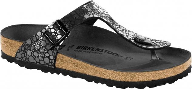 Birkenstock Pantolette, Gizeh Damen Pantolette, Birkenstock Zehentrenner Metallic stones Birko-Flor 31ea8a