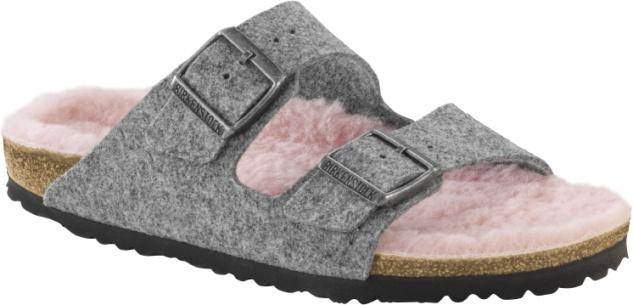 Birkenstock Arizona Damen Pantolette grey happy lamb rose Wollfilz