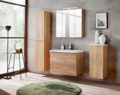 Badmöbel Set 5-tlg Badezimmerset PERUGIA Gold Eiche Set.4 - Vorschau 1