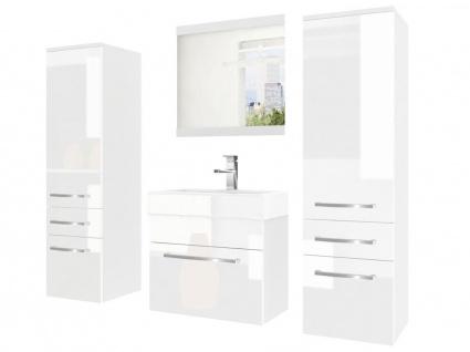 Badmöbel Set 4-tlg MARIO Set.5 Weiß HGL inkl.Waschtisch 50 cm