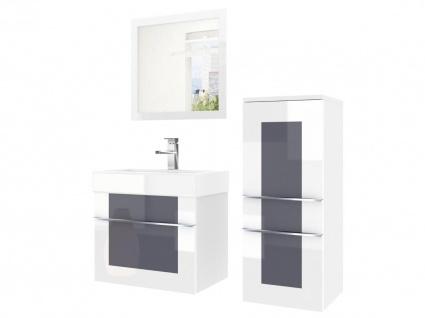 Badmöbel Set 3-tlg DAWINO Set.1 Weiss-Grau inkl.Waschtisch 50 cm