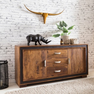 Sideboard Kommode SALONI Sheesham massiv 160x44x80 cm Landhausstil
