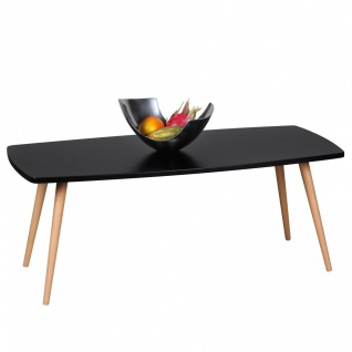 Couchtisch Beistelltisch - DAGNY - 110x50 cm Schwarz matt/Buche massiv