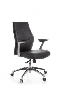 Drehstuhl Bürostuhl Chefsessel LONDON XS -Echtleder Schwarz