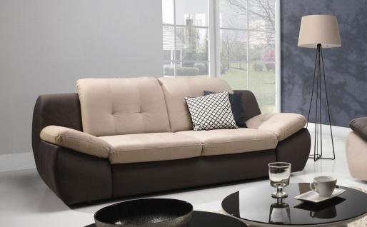 Sofa 3-Sitzer PEDRO Polyesterstoff Braun / Beige 205x84x113 cm