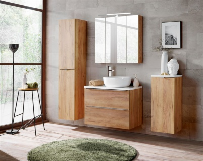 Badmöbel Set 5-tlg Badezimmerset PERUGIA Eiche Set.2 ohne Waschbecken