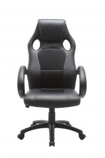 Drehstuhl Bürostuhl Stuhl - Sport - Kunstleder Schwarz