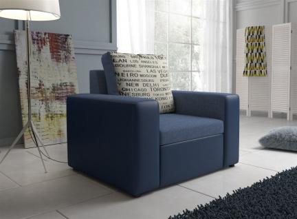 Sessel Clubsessel LEEDS in Kunstleder -Webstoff Blau