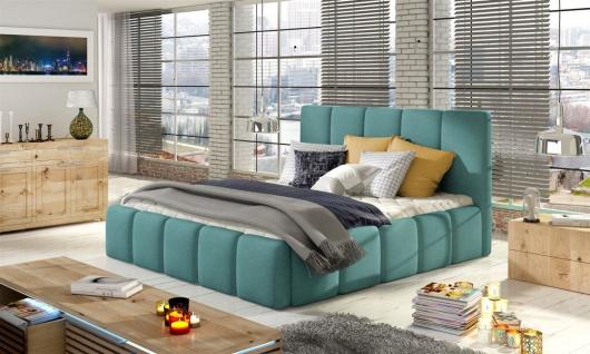 Polsterbett Bett Doppelbett VERONA Set 1 Polyesterstoff Mint 140x200cm