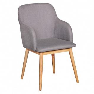 Esszimmerstuhl Stuhl Vierfußstuhl JASPER Stoff - Grau /Rubberwood