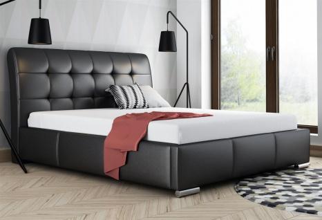 Polsterbett Bett Doppelbett MATTIS Kunstleder Schwarz 160x200cm