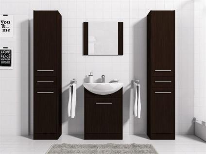 Badmöbel Set 5-Tlg Wenge matt SEVILLA XL inkl.Waschtisch