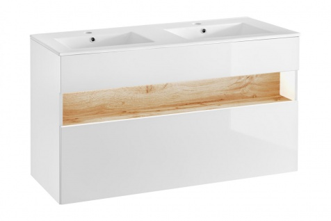Badmöbel Set 3-tlg Badezimmerset VARESE Weiss inkl.Waschtisch 120 cm - Vorschau 5