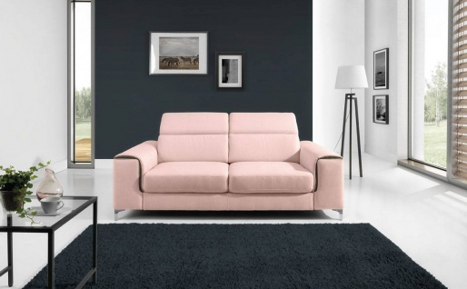 Sofa 2-Sitzer STELLA Polyesterstoff Hellrosa 176x95x105 cm